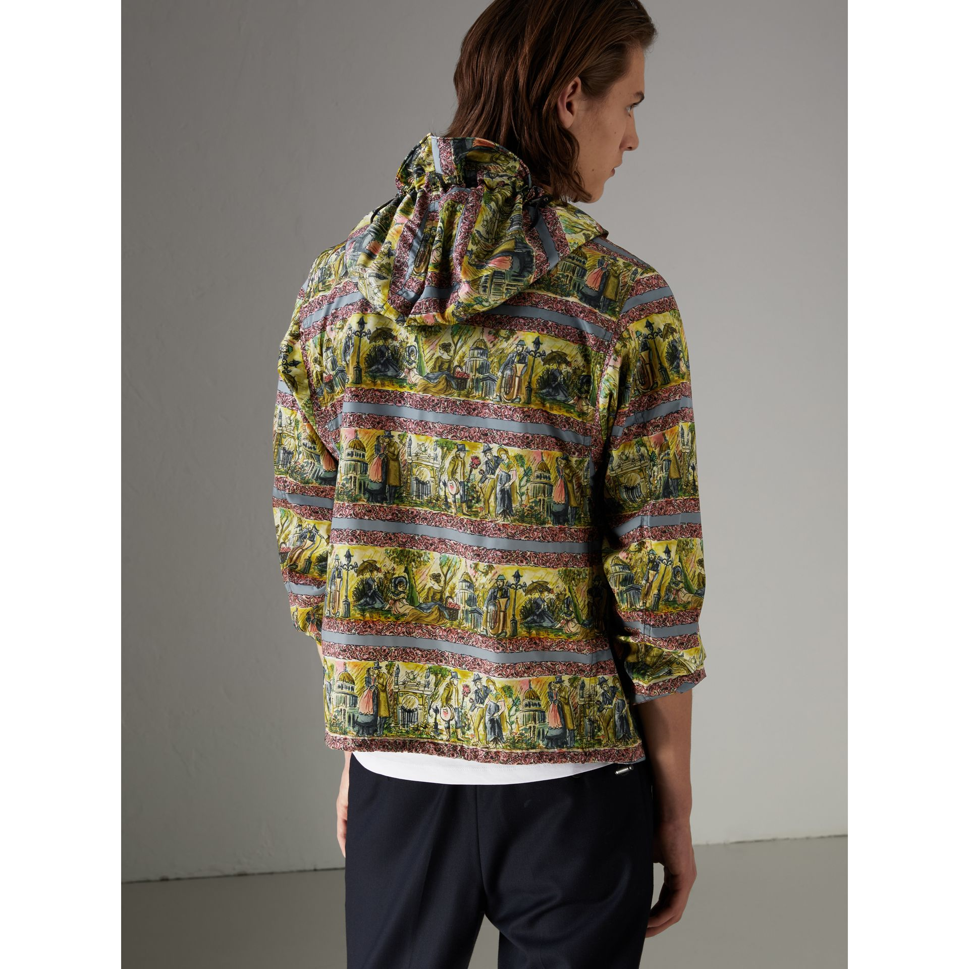 Figurative Print Lightweight Technical Hooded Jacket in Turquoise Green - Men | Burberry - gallery image 2