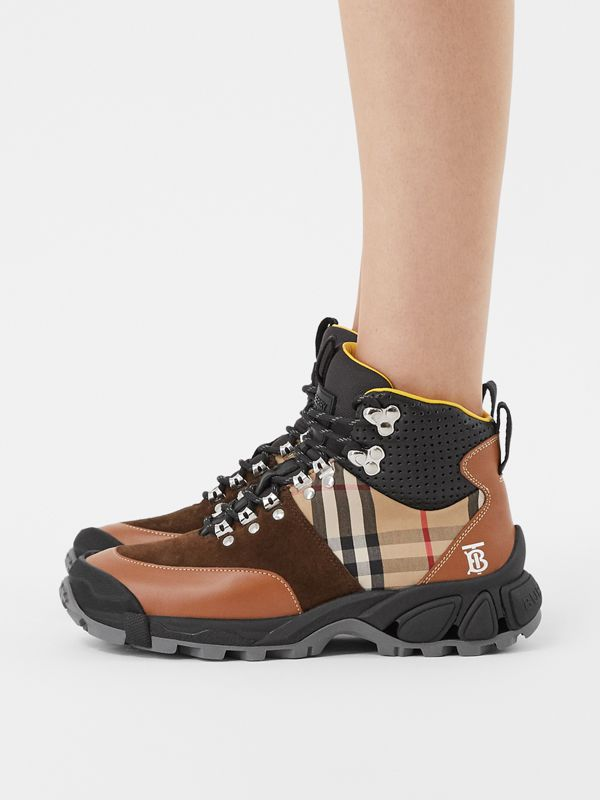 Leather, Vintage Check Cotton and Suede Tor Boots in Archive Beige/tan - Women | Burberry - cell image 2