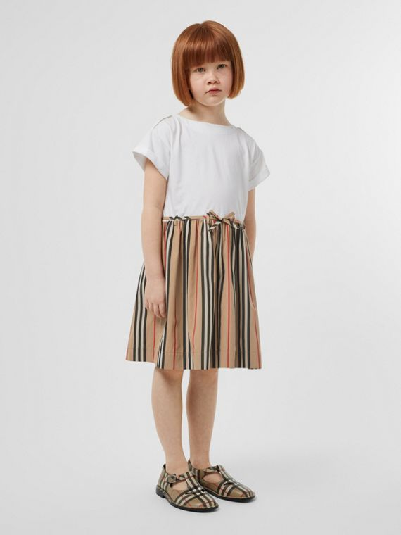 Icon Stripe Cotton Dress in White