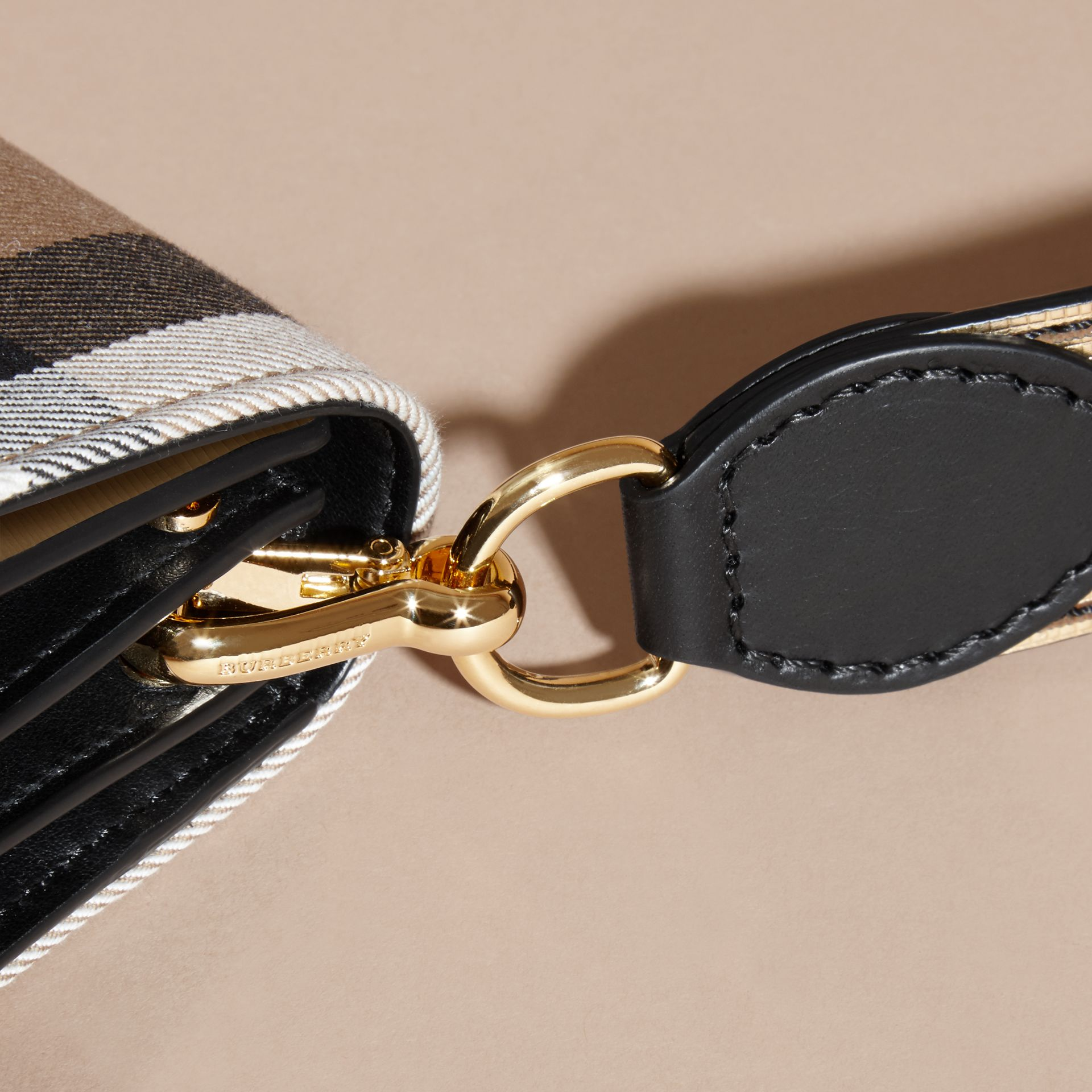 The Small Buckle Bag in House Check and Leather Gold - gallery image 7