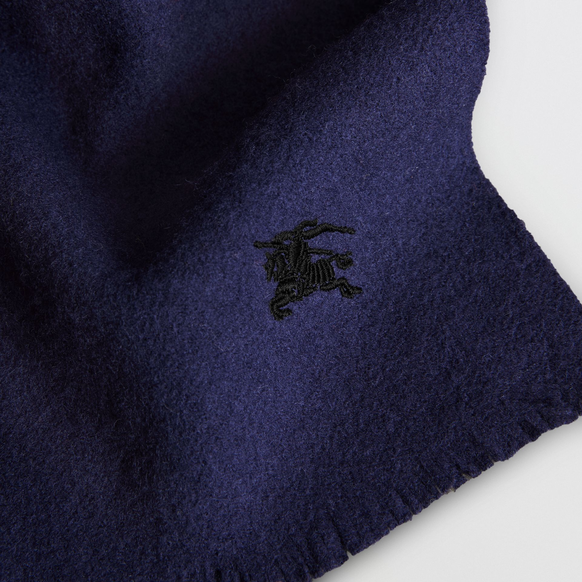 Embroidered Felted Wool Scarf in Navy | Burberry Australia - gallery image 1