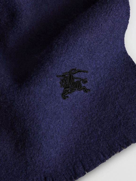 Embroidered Felted Wool Scarf in Navy | Burberry - cell image 1