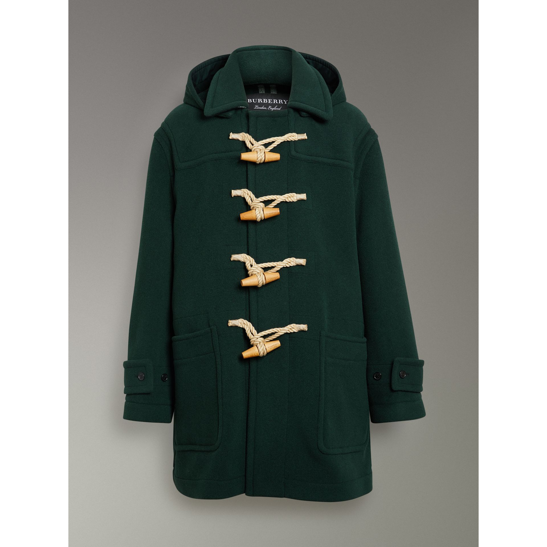 Gosha x Burberry Oversized Duffle Coat in Dark Forest Green | Burberry - gallery image 3