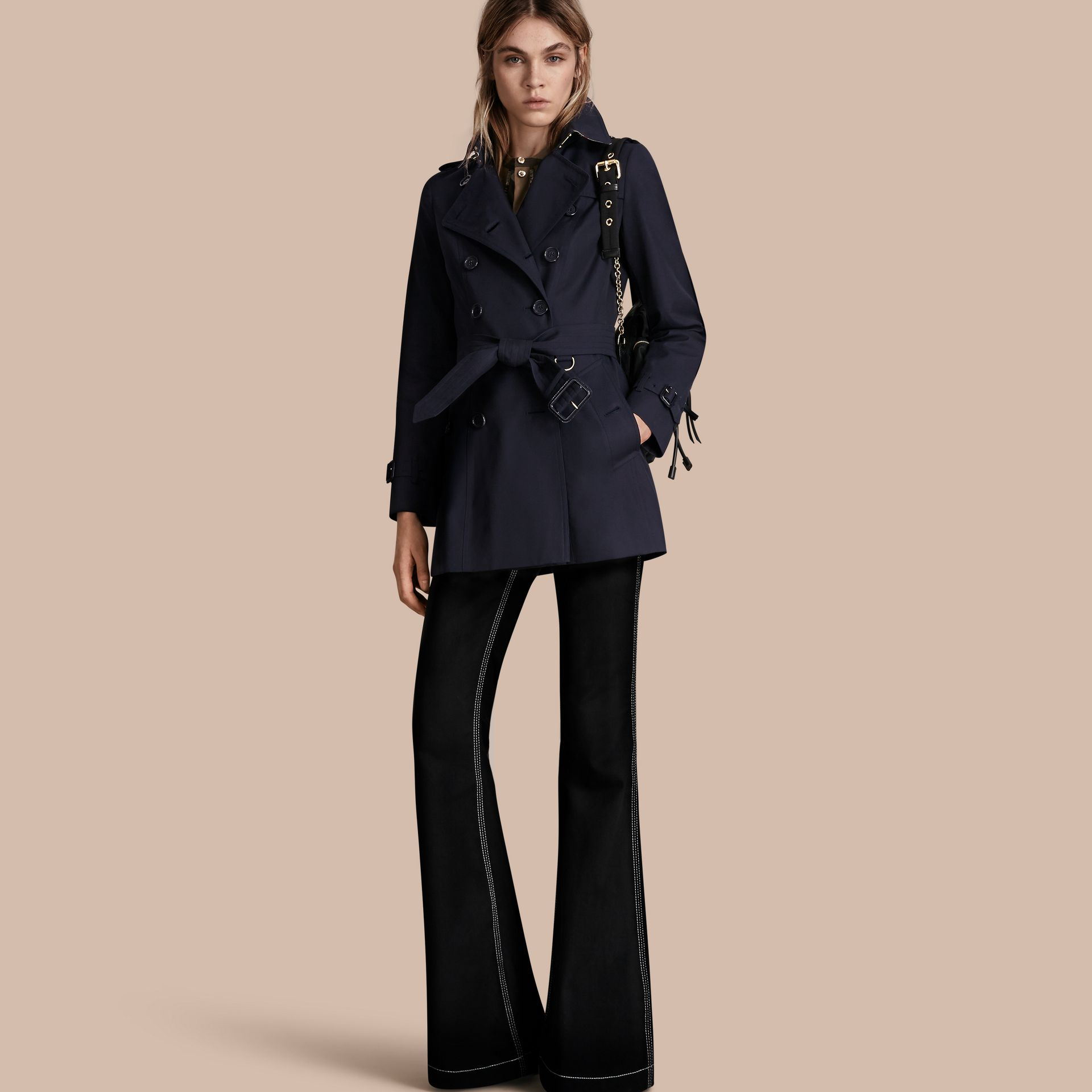 Navy The Chelsea – Short Heritage Trench Coat Navy - gallery image 1