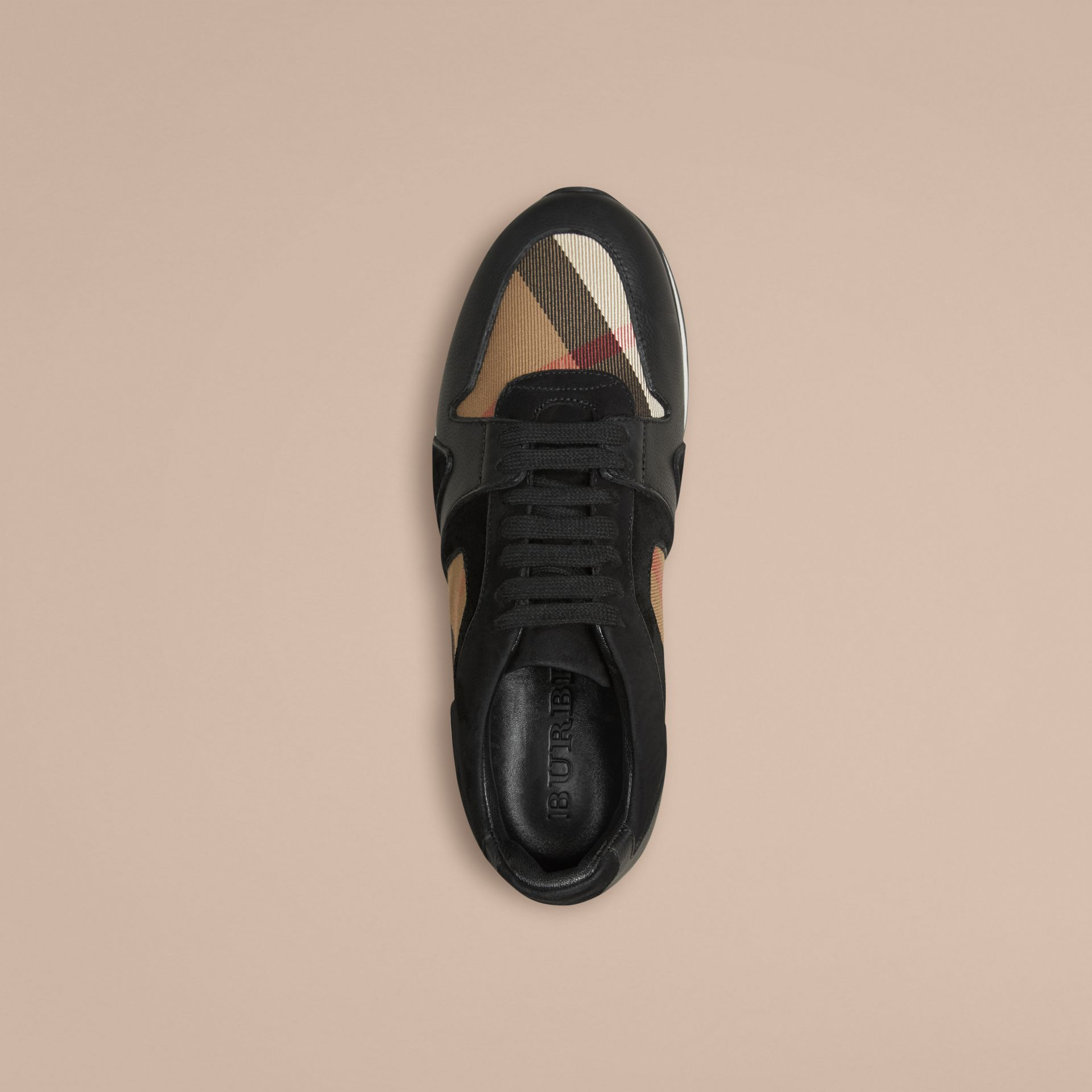 Black The Field Sneaker in House Check and Leather - gallery image 3