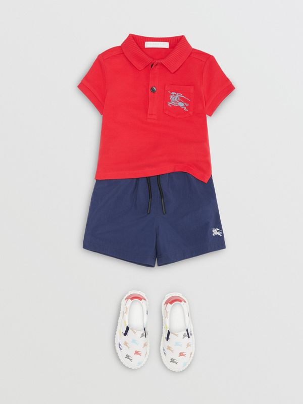 EKD Logo Cotton Piqué Polo Shirt in Bright Red - Children | Burberry United Kingdom - cell image 2