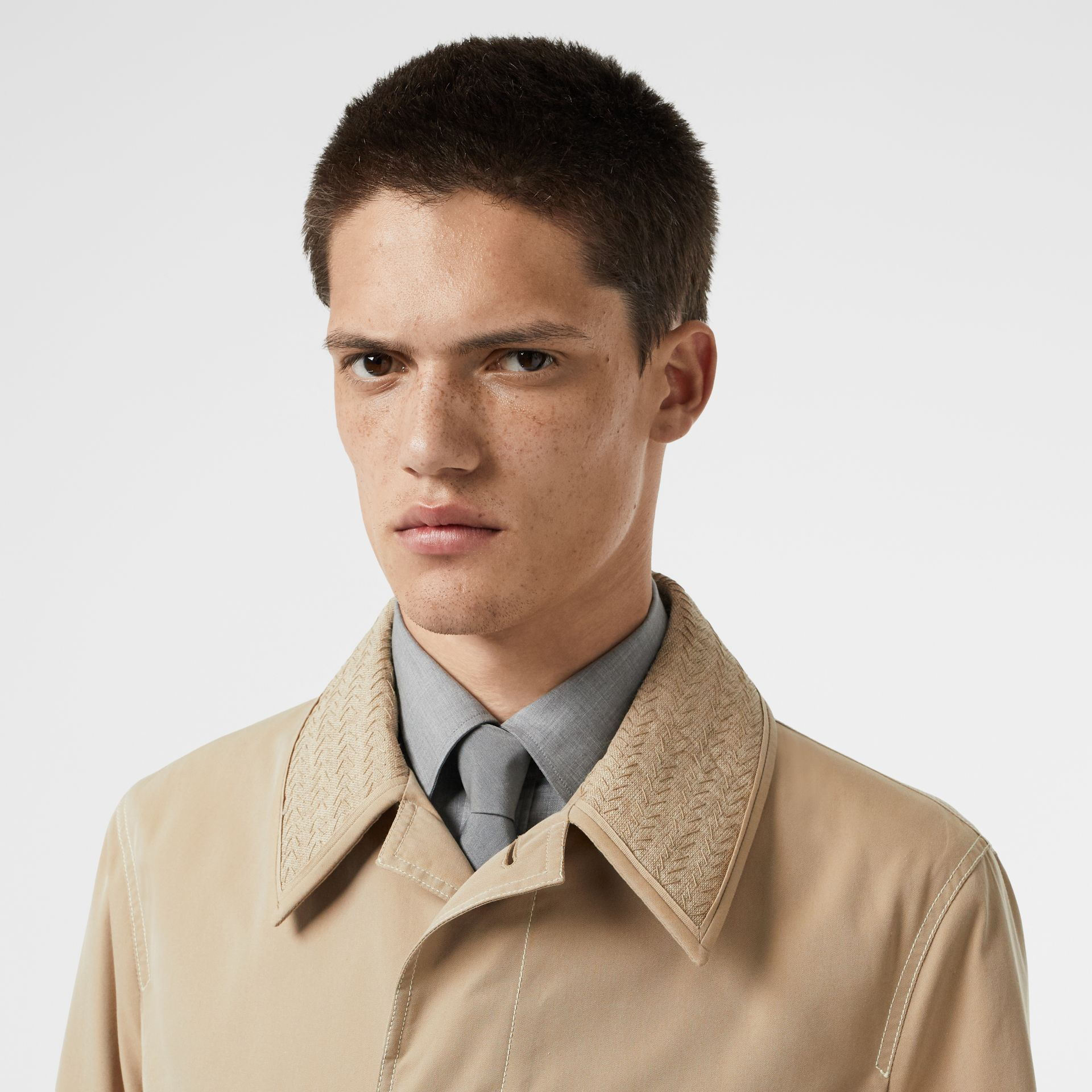 Linen Collar Button Panel Cotton Car Coat in Honey | Burberry - gallery image 8