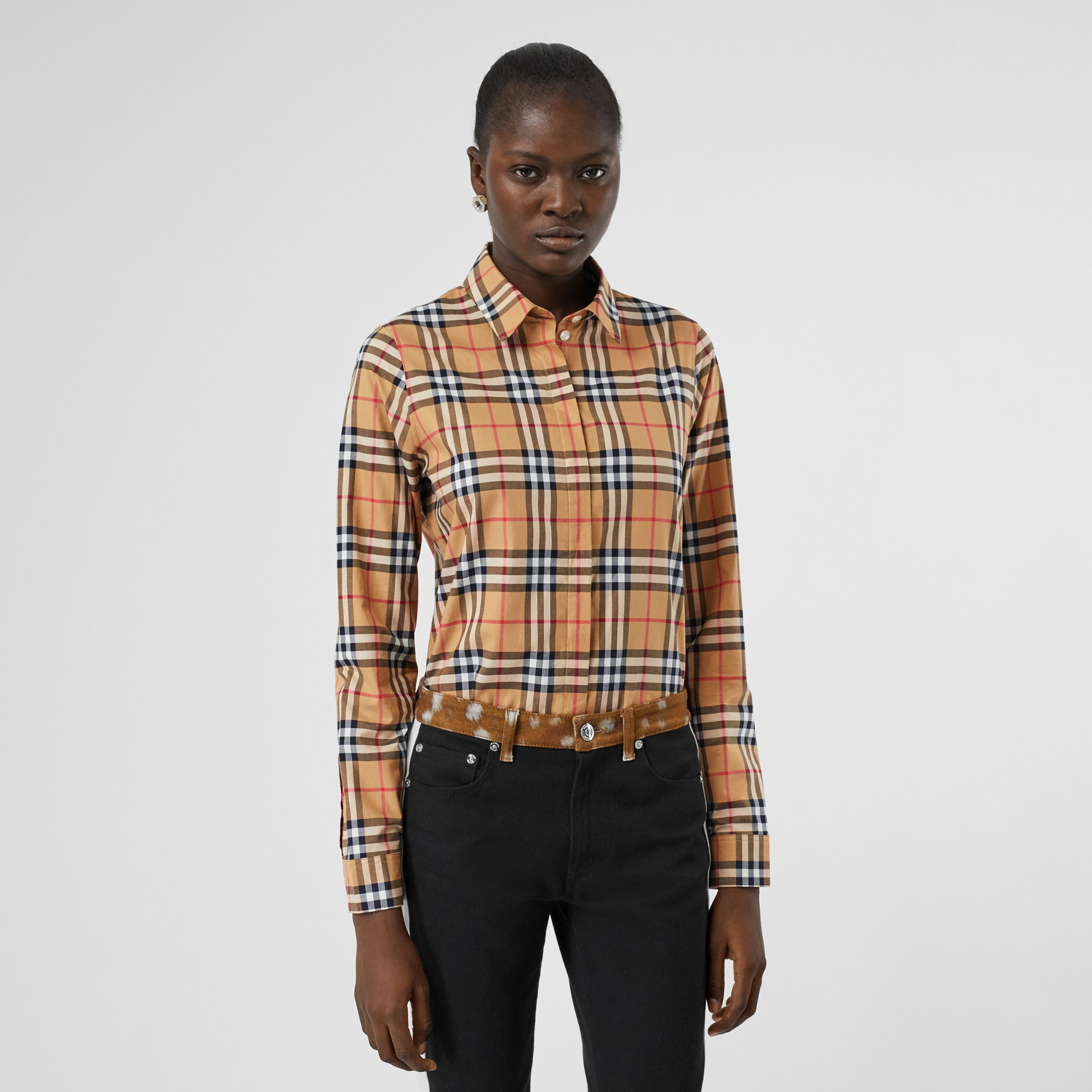 Vintage Check Cotton Oversized Shirt in Antique Yellow - Women | Burberry - 1