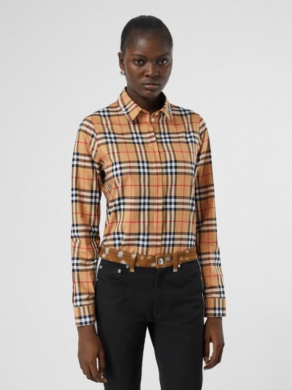 Camicia in cotone con motivo Vintage check (Giallo Antico)