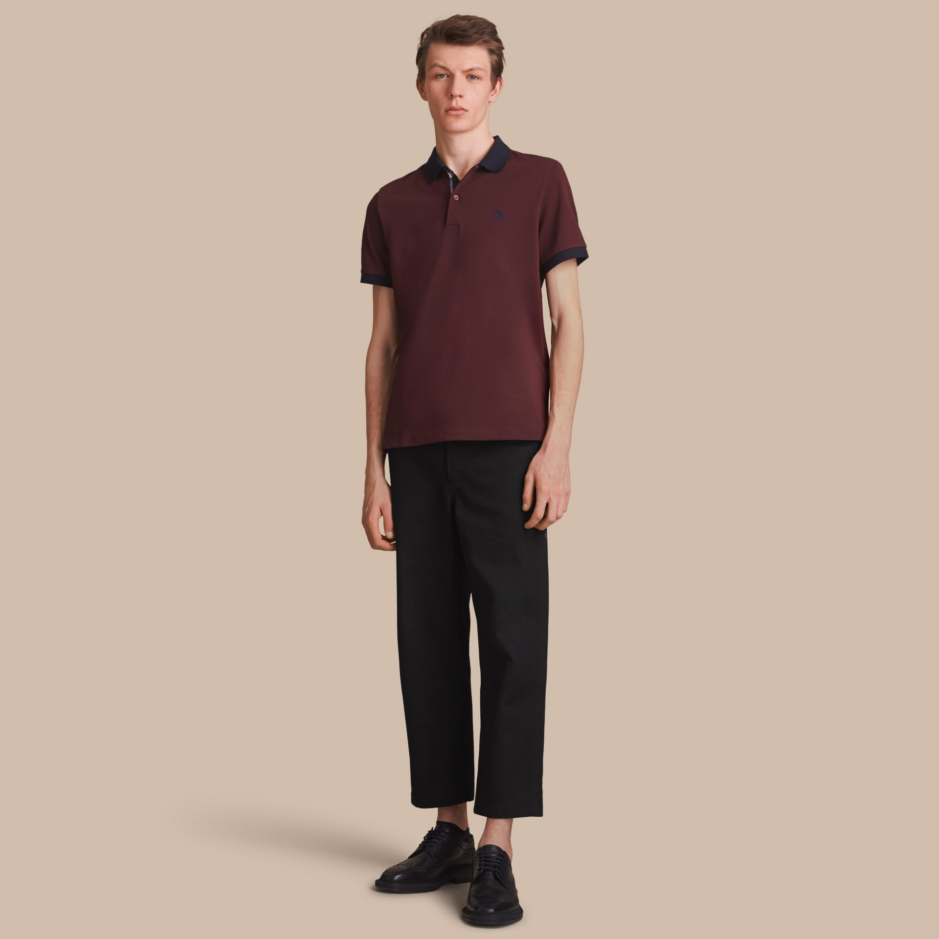 Two-tone Check Placket Cotton Piqué Polo Shirt in Deep Claret - gallery image 1