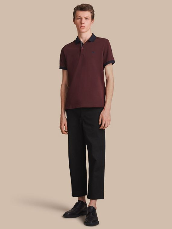 Two-tone Check Placket Cotton Piqué Polo Shirt Deep Claret