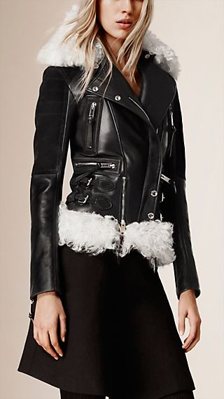 Lambskin Biker Jacket with Shearling Trim