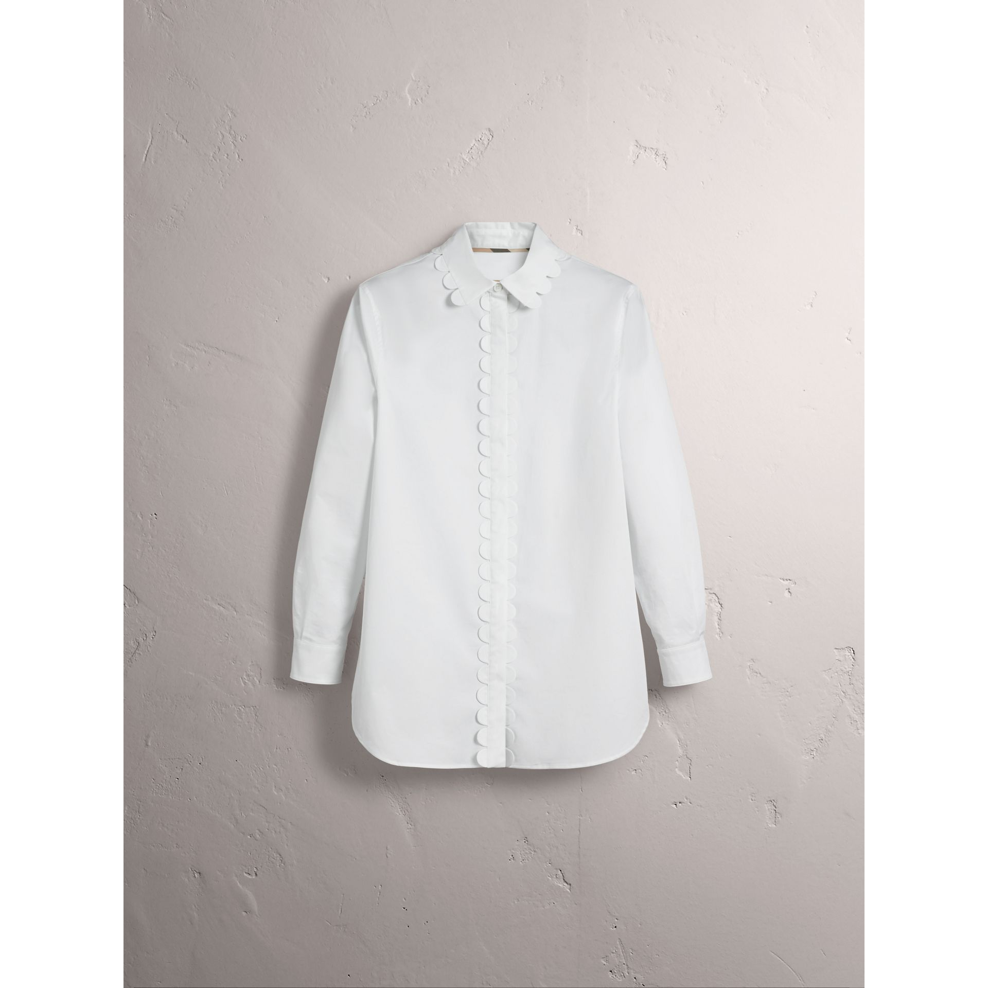 Scalloped Stretch Cotton Shirt - Women | Burberry - gallery image 4