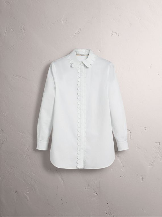 Scalloped Stretch Cotton Shirt - Women | Burberry - cell image 3