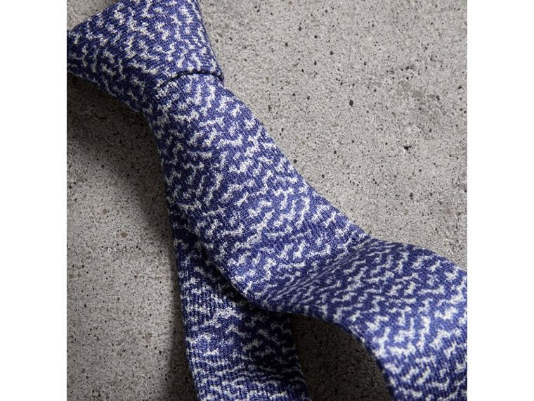 Slim Cut Ripple Print Silk Tie in Cobalt Blue - Men | Burberry United Kingdom - cell image 1