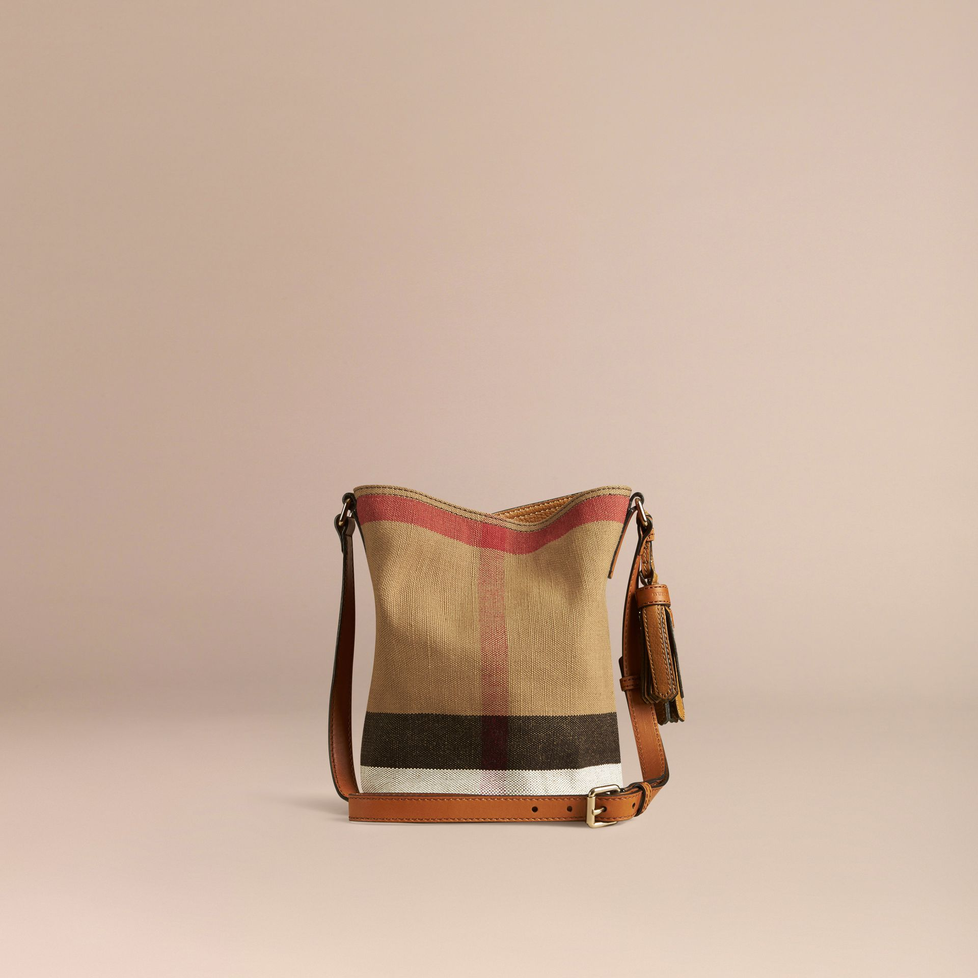 The Small Ashby in Canvas Check and Leather in Saddle Brown - gallery image 4