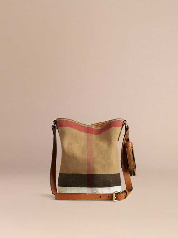 Saddle brown The Small Ashby in Canvas Check and Leather Saddle Brown - cell image 3