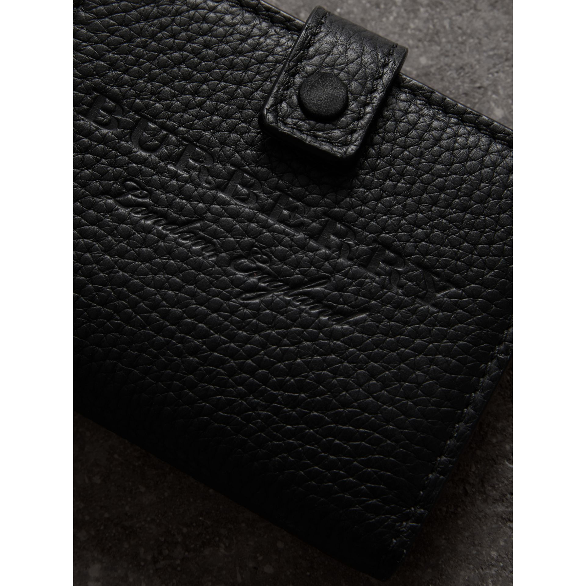 Embossed Leather Folding Wallet in Black - Women | Burberry United States - gallery image 1