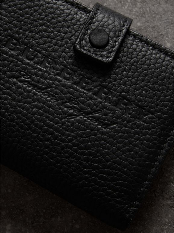 Embossed Leather Folding Wallet in Black - Women | Burberry United States - cell image 1