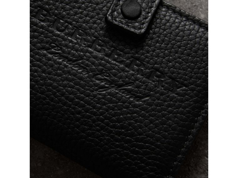 Embossed Leather Folding Wallet in Black - Women | Burberry Australia - cell image 1