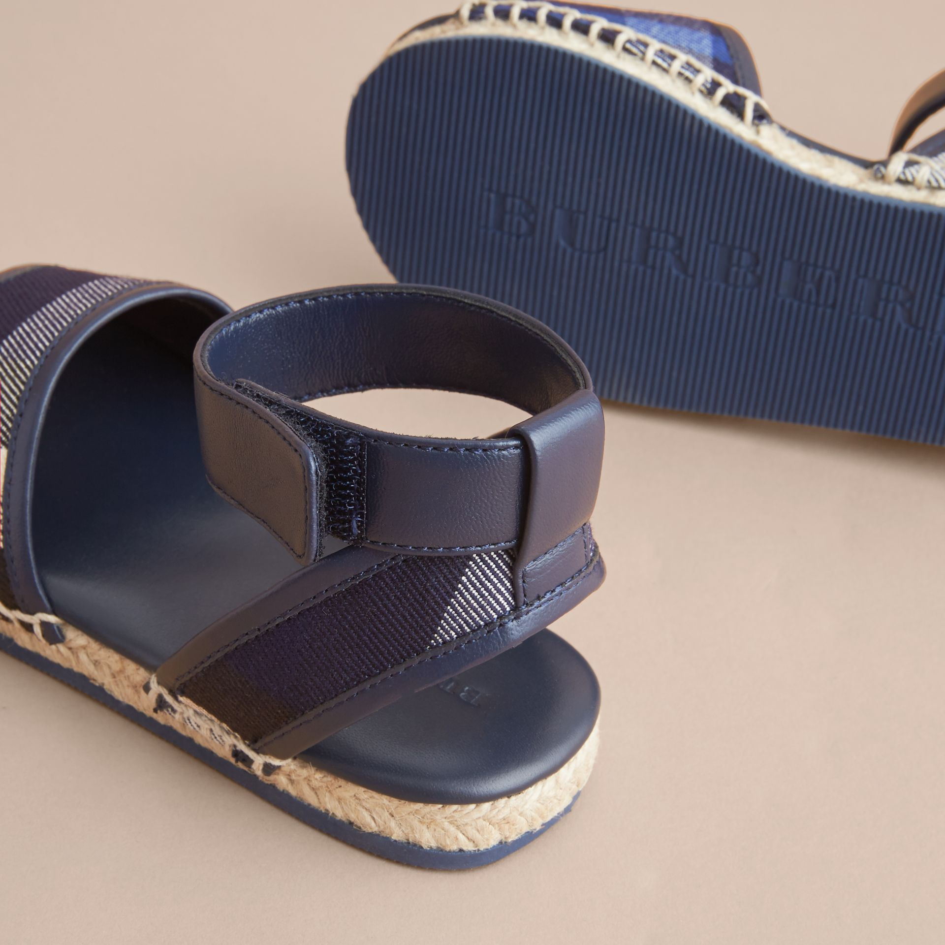 Leather Ankle Strap and House Check Espadrille Sandals in Bright Sapphire - gallery image 2