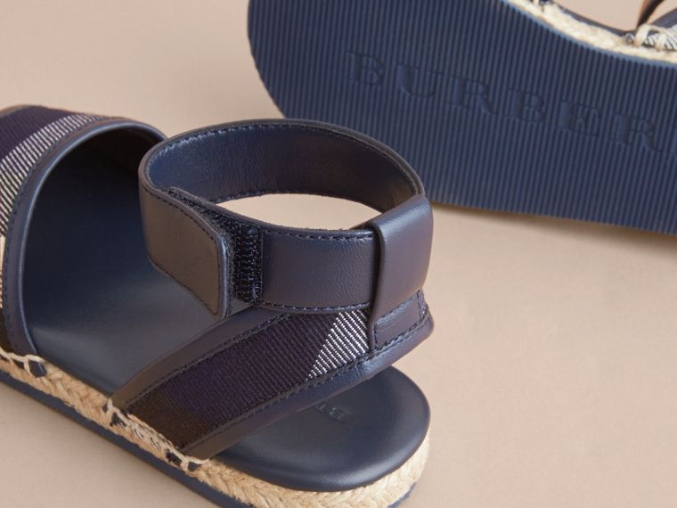 Leather Ankle Strap and House Check Espadrille Sandals in Bright Sapphire - cell image 1