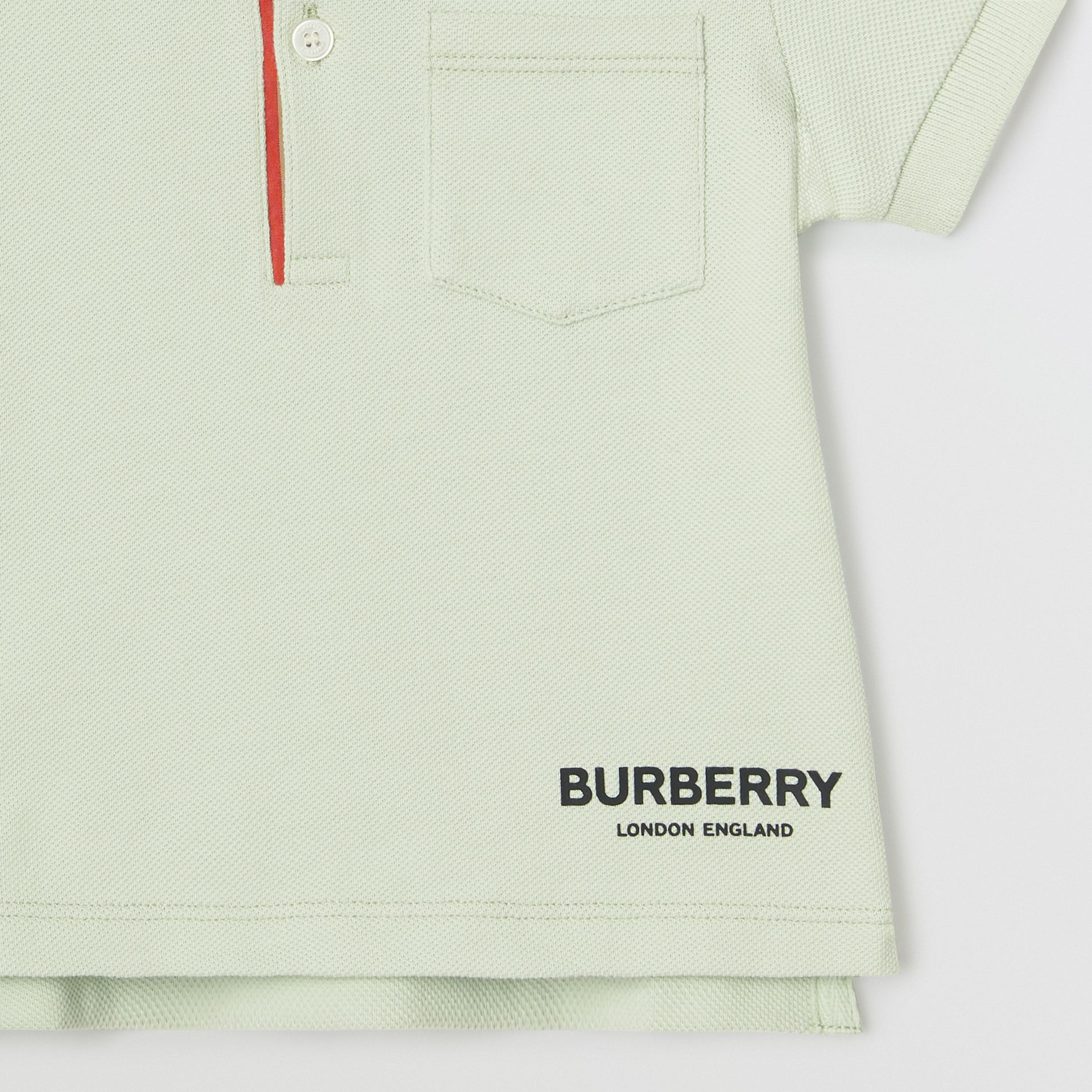 Icon Stripe Placket Cotton Piqué Polo Shirt in Pale Mint - Children | Burberry - gallery image 4