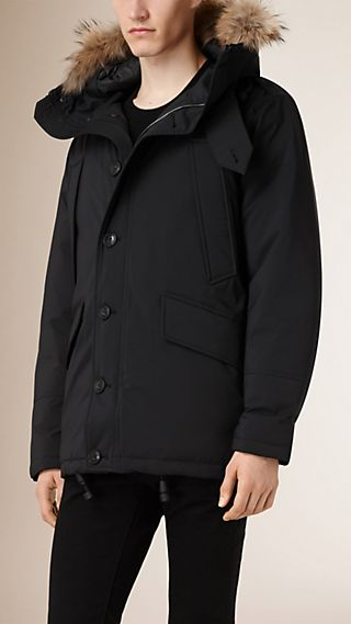 Down Filled Parka with Detachable Fur Trim Hood