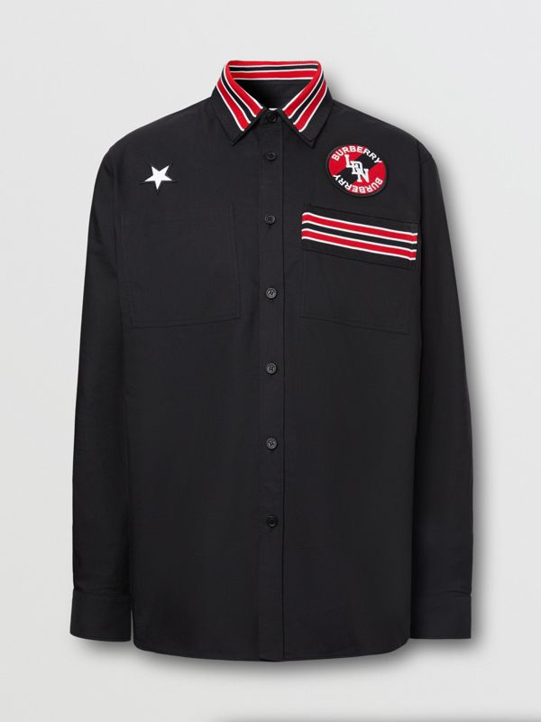 Logo Graphic Cotton Oxford Oversized Shirt in Black - Men   Burberry Hong Kong S.A.R - cell image 3