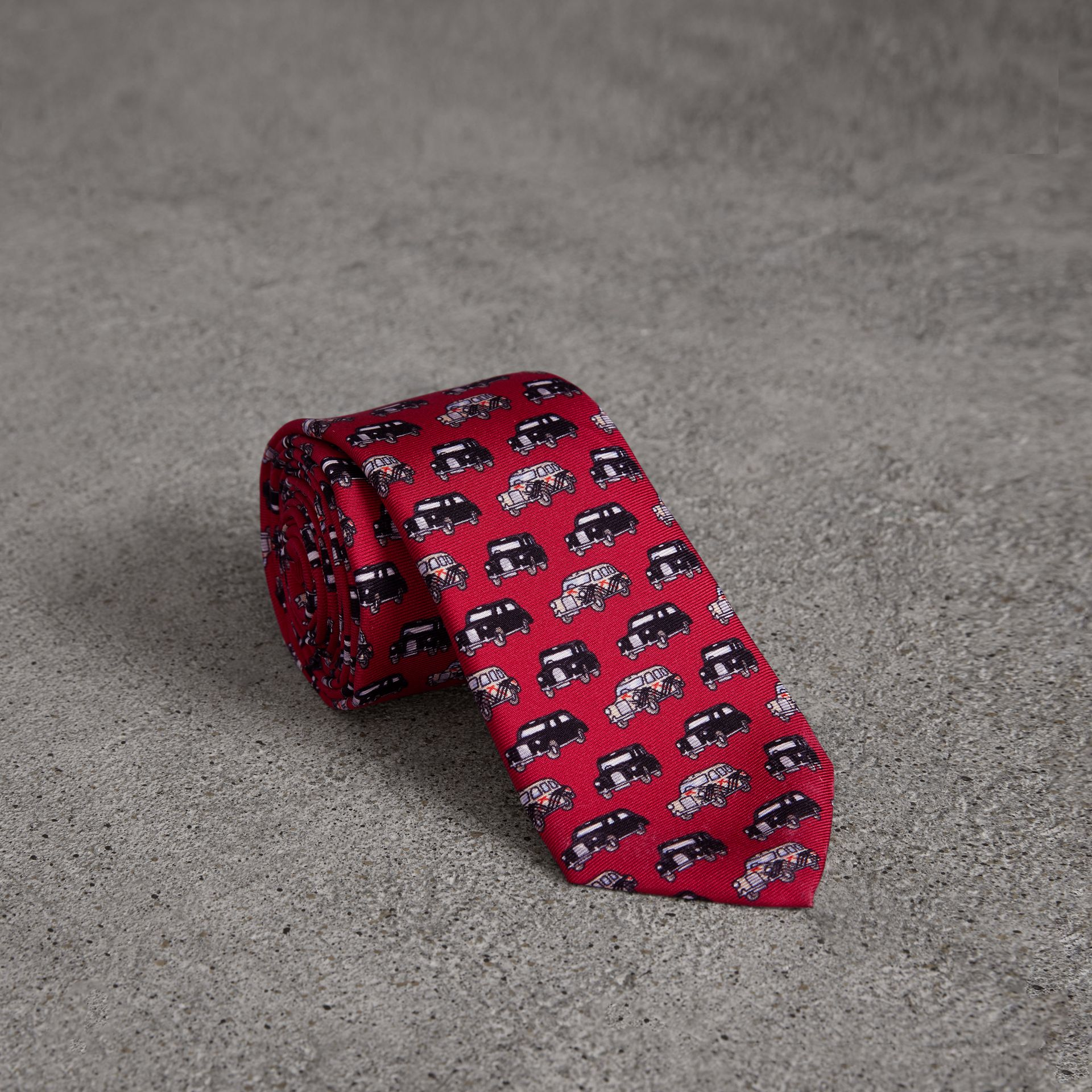 Slim Cut Taxi Print Silk Tie in Crimson Pink - Men | Burberry - gallery image 0