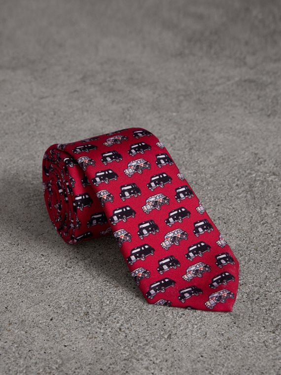 Slim Cut Taxi Print Silk Tie in Crimson Pink