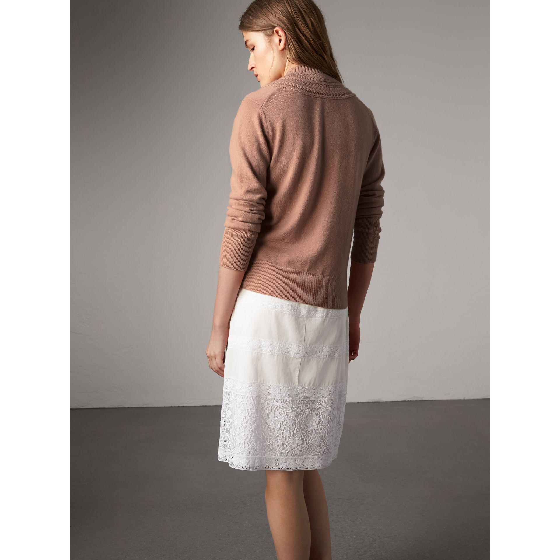 Cable Knit Detail Cashmere Cardigan in Apricot Pink - Women | Burberry - gallery image 3