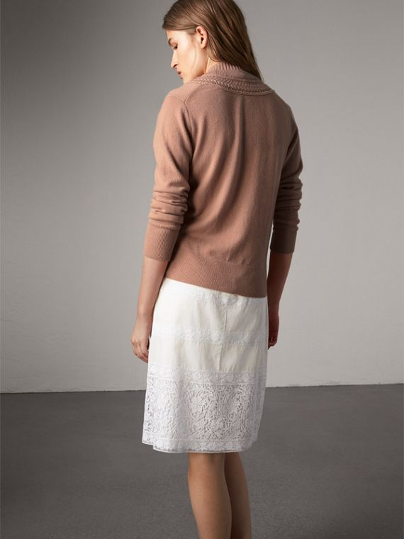 Cable Knit Detail Cashmere Cardigan in Apricot Pink - Women | Burberry - cell image 2