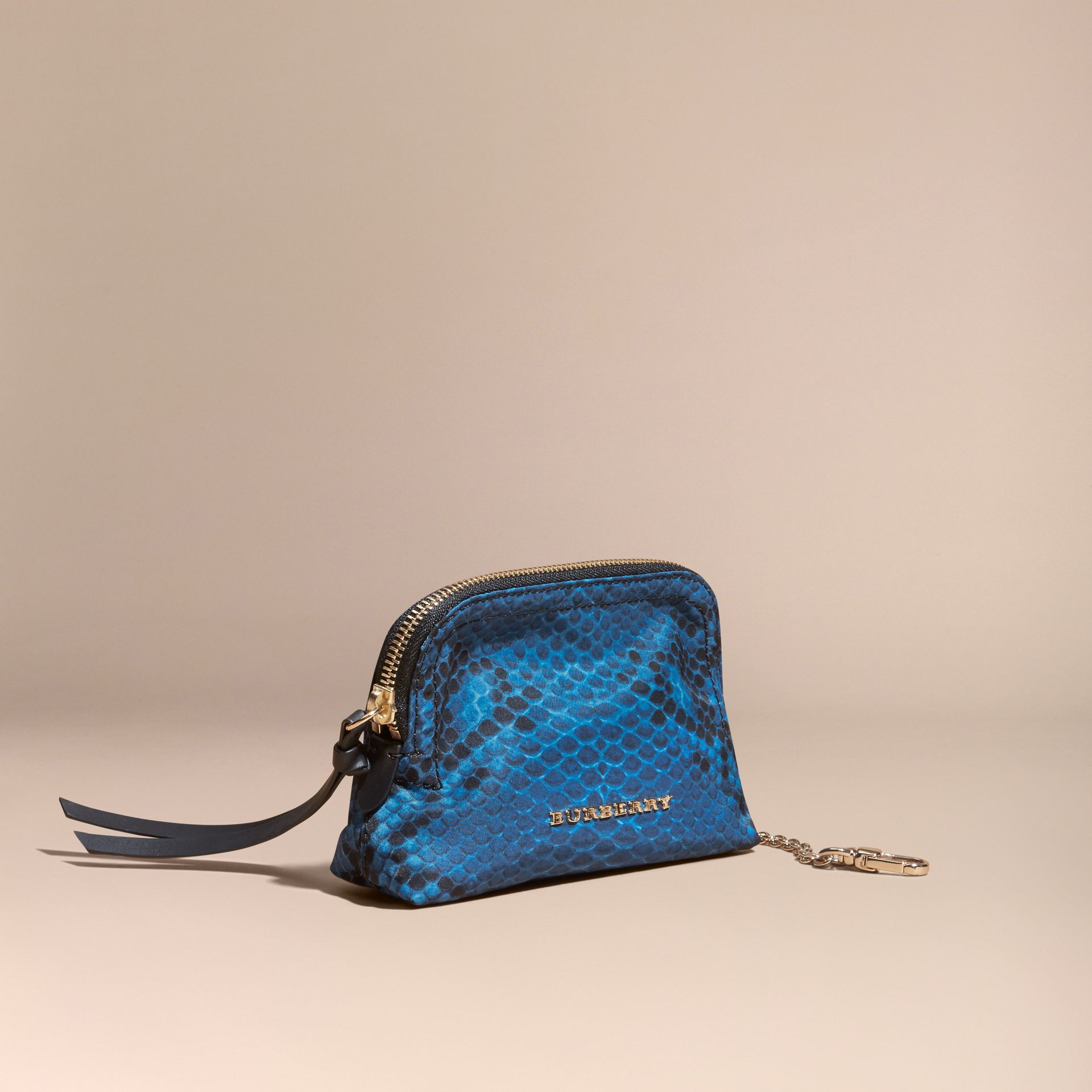 Small Zip-top Python-print Technical Nylon Pouch Mineral Blue - gallery image 1