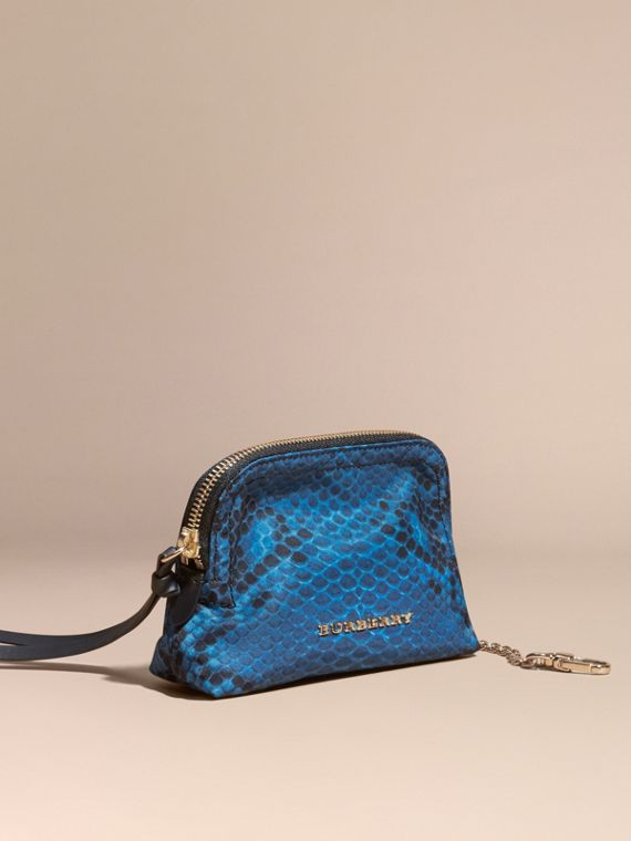 Small Zip-top Python-print Technical Nylon Pouch Mineral Blue