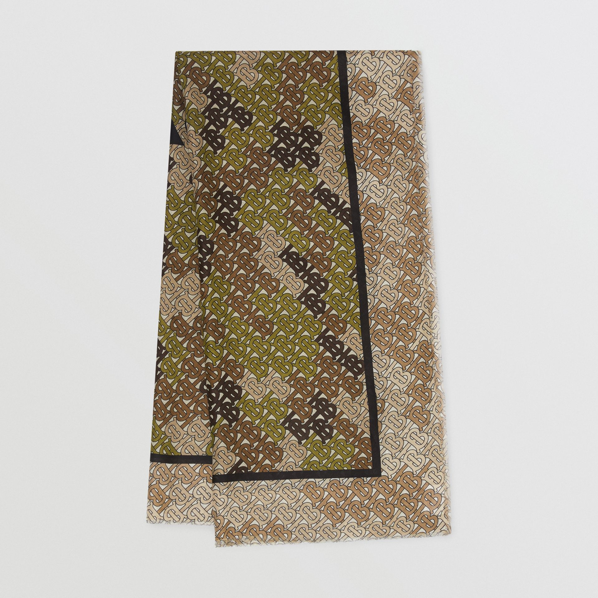 Horseferry Print Cotton Silk Large Square Scarf in Khaki Green | Burberry - gallery image 0