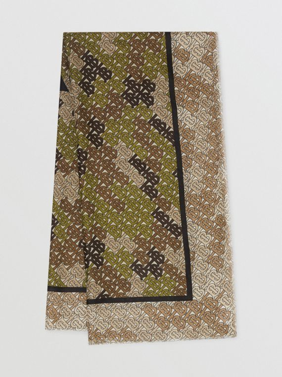 Lenço grande de algodão e seda com estampa Horseferry (Verde Cáqui)