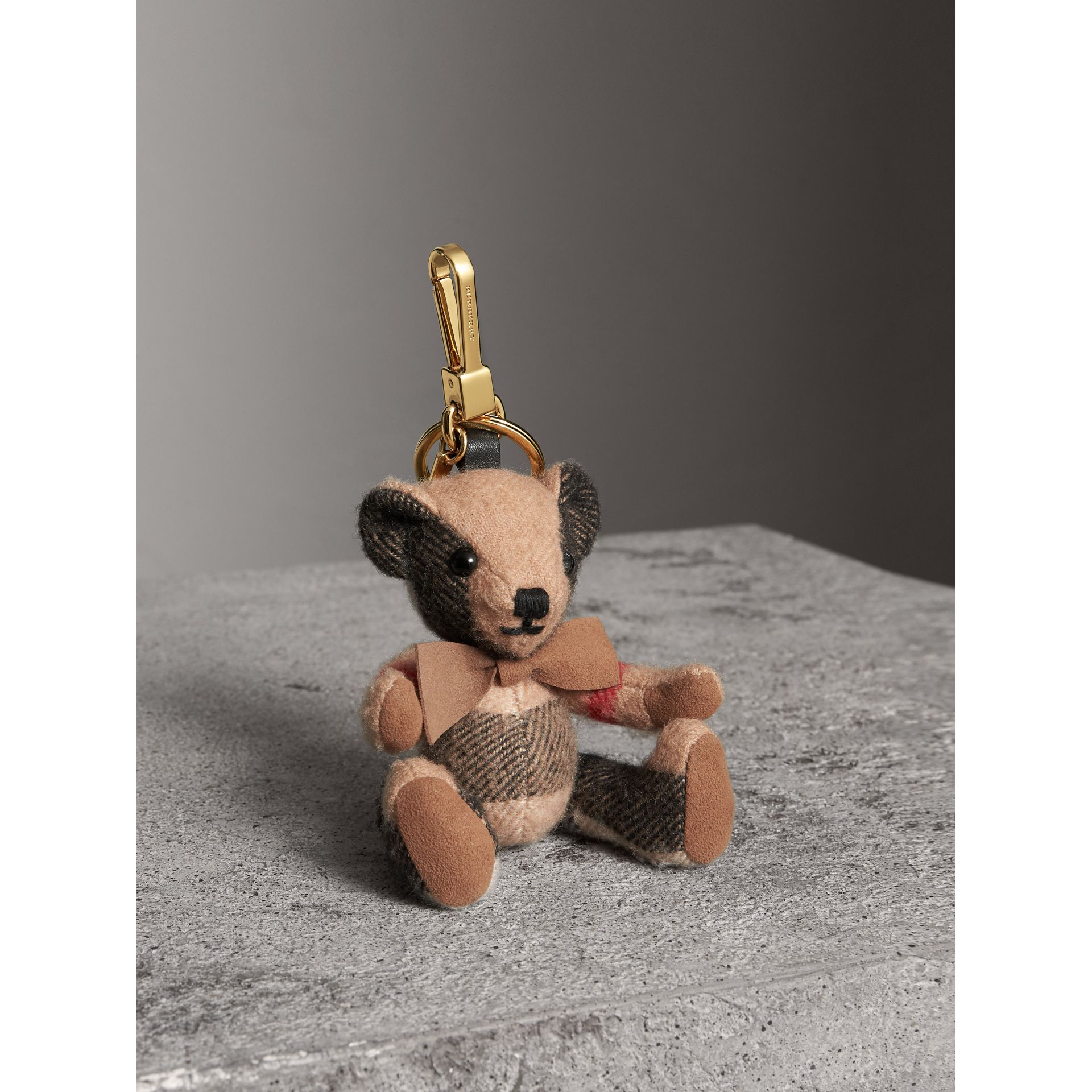 Thomas Bear Charm in Check Cashmere in Camel | Burberry - gallery image 1