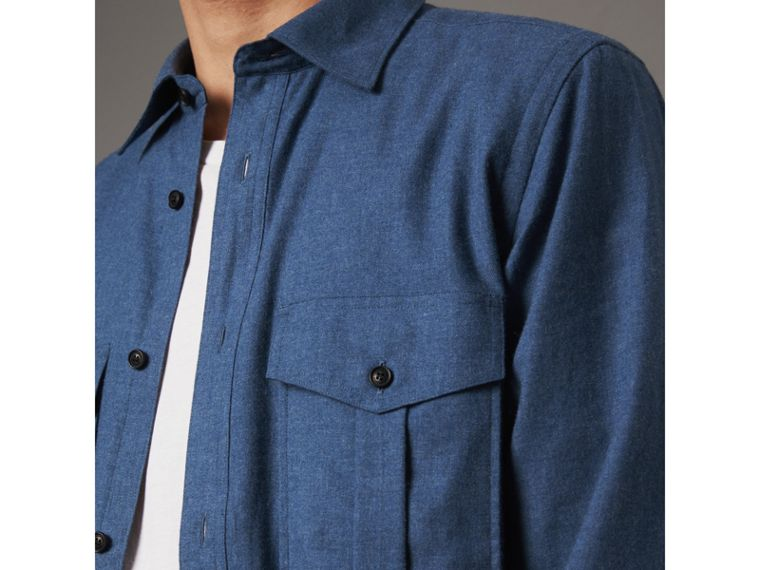 Lightweight Cotton Flannel Shirt in Canvas Blue - Men | Burberry United Kingdom - cell image 1