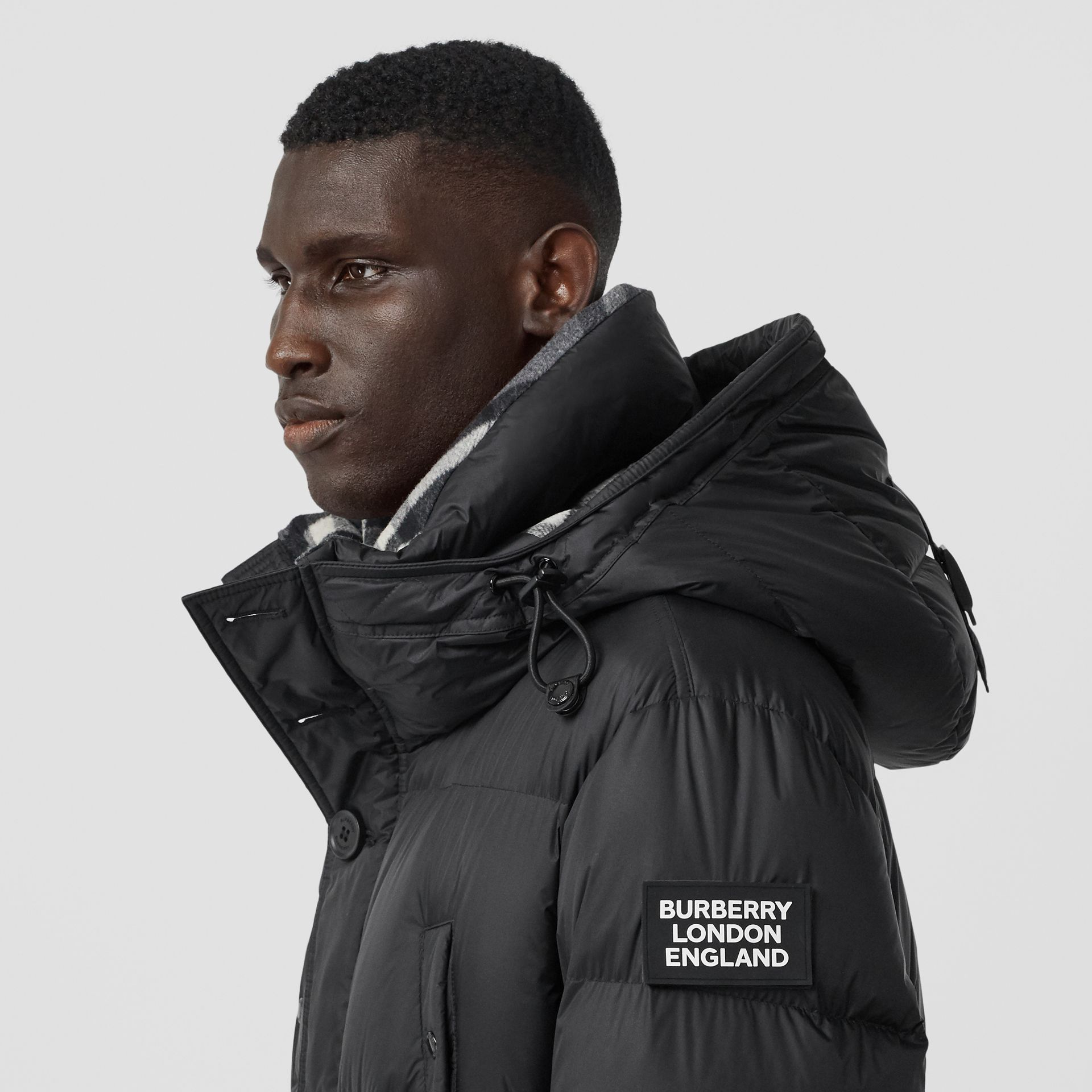 Logo Detail Hooded Puffer Coat in Black - Men | Burberry - gallery image 4