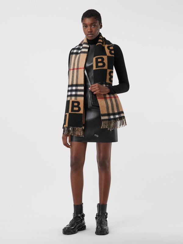 Check and B Motif Wool Cashmere Scarf in Black | Burberry - cell image 2