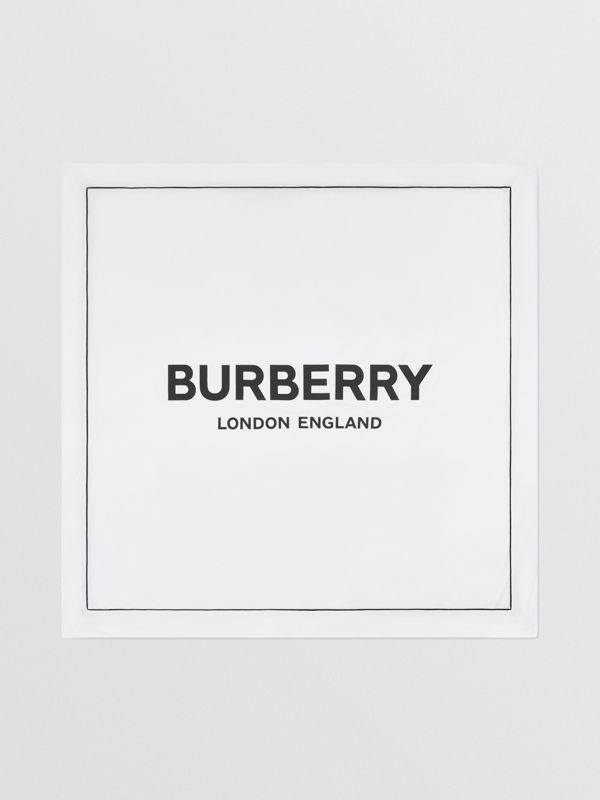 Logo Print Cotton Jersey Baby Blanket in White - Children | Burberry - cell image 2