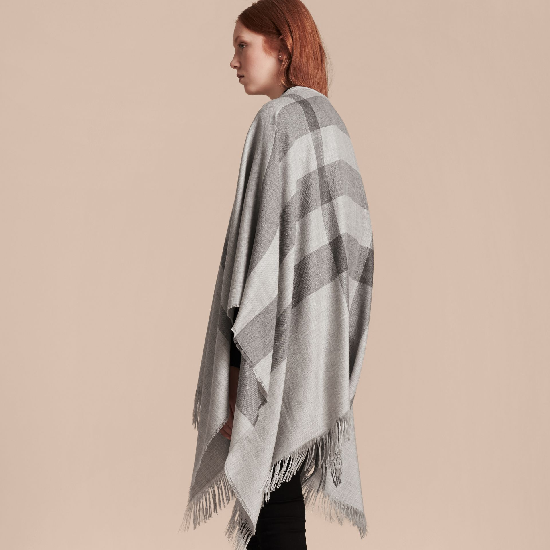 Pale grey Lightweight Check Cashmere Poncho Pale Grey - gallery image 6