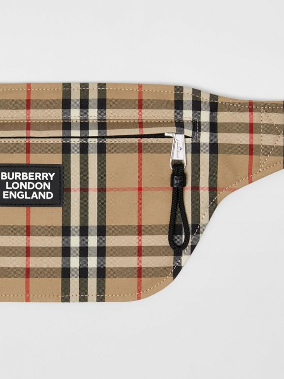 Logo Appliqué Vintage Check Brummell Bum Bag in Archive Beige | Burberry - cell image 1