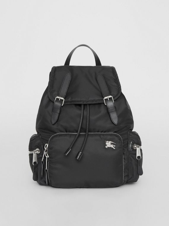 The Medium Rucksack in Nylon and Leather in Black