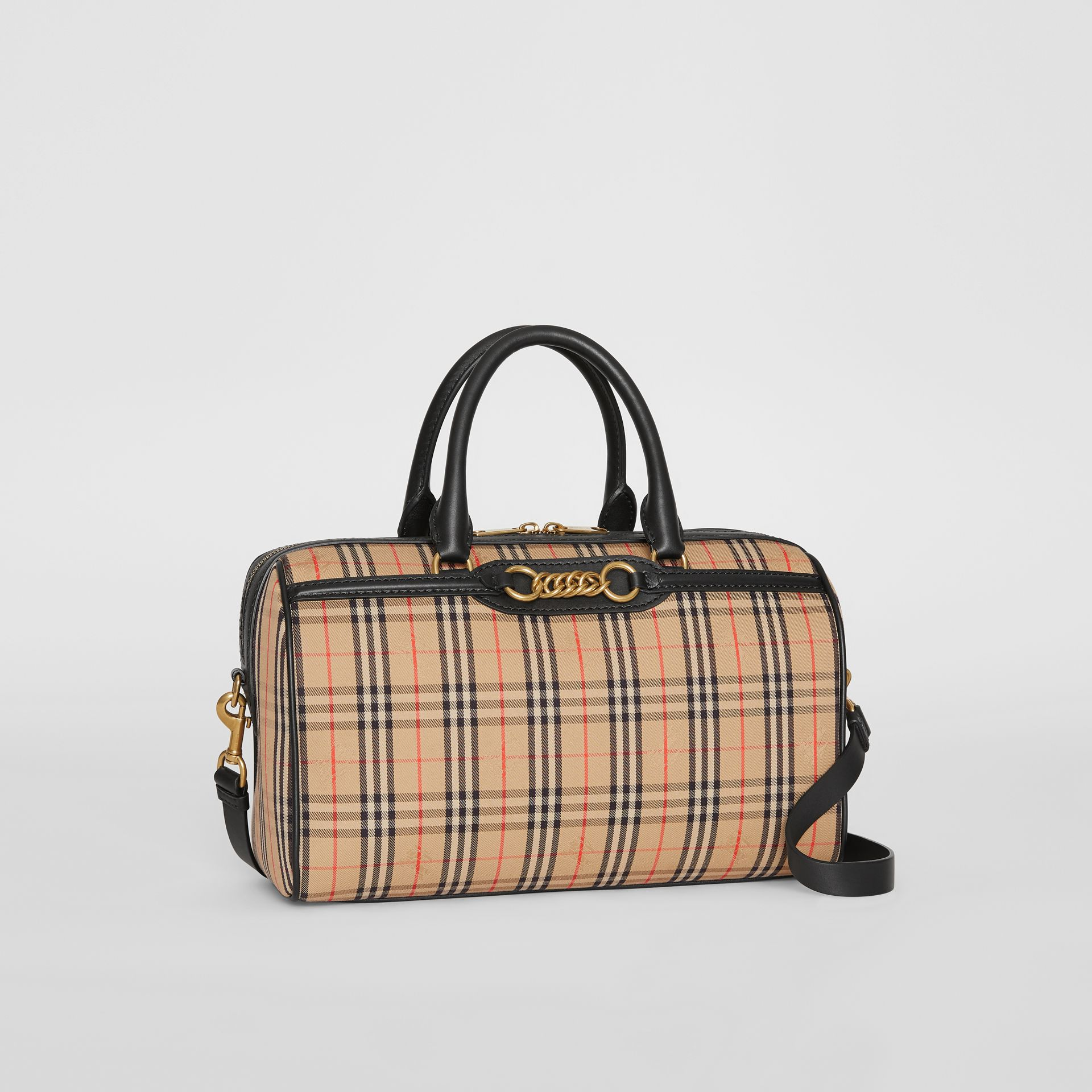 The Medium 1983 Check Link Bowling Bag in Black - Women | Burberry - gallery image 6