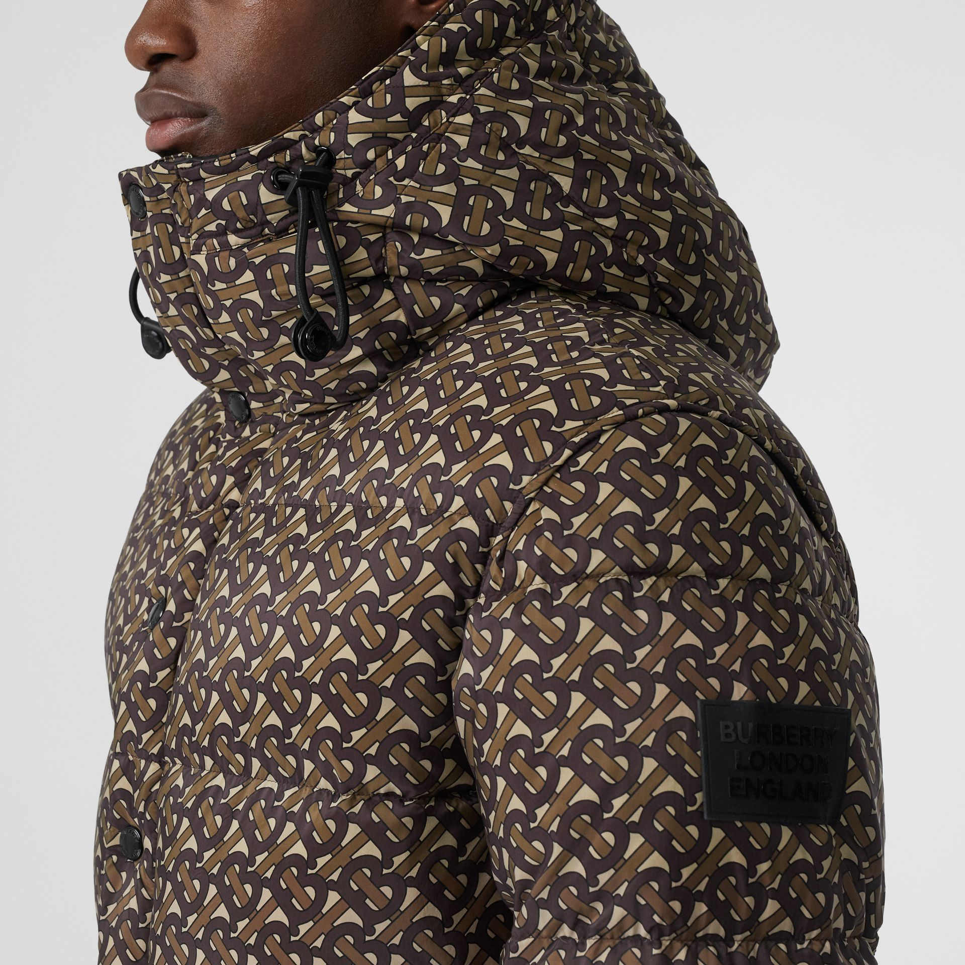Detachable Sleeve Monogram Print Puffer Jacket in Bridle Brown - Men | Burberry - gallery image 5