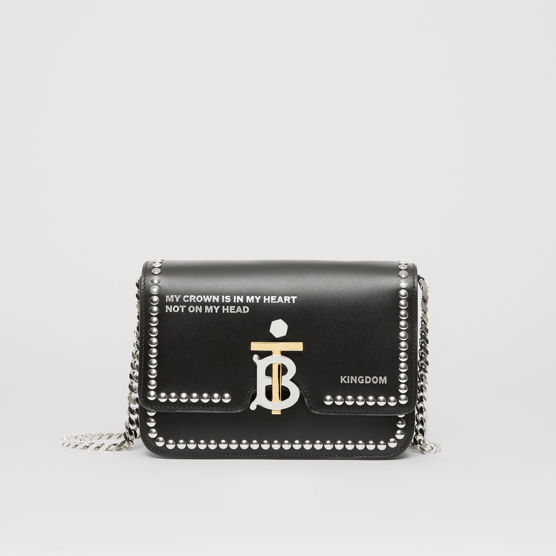 Small Studded Montage Print Leather TB Bag in Black - Women | Burberry - gallery image 0