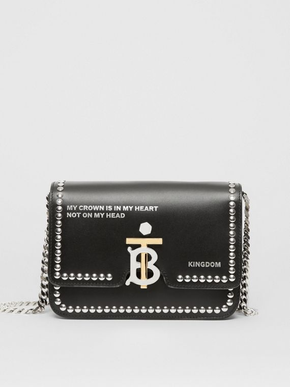 Small Studded Montage Print Leather TB Bag in Black