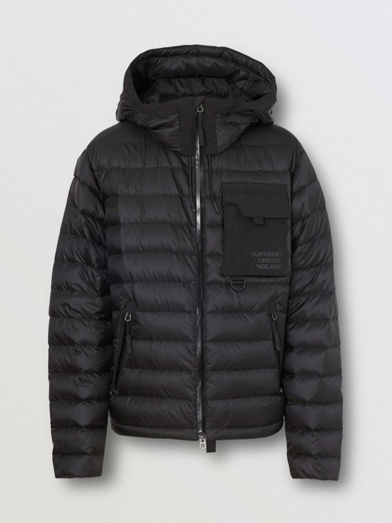 Down-filled Hooded Puffer Jacket in Black